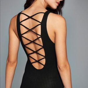 Black Open Back Body Suit